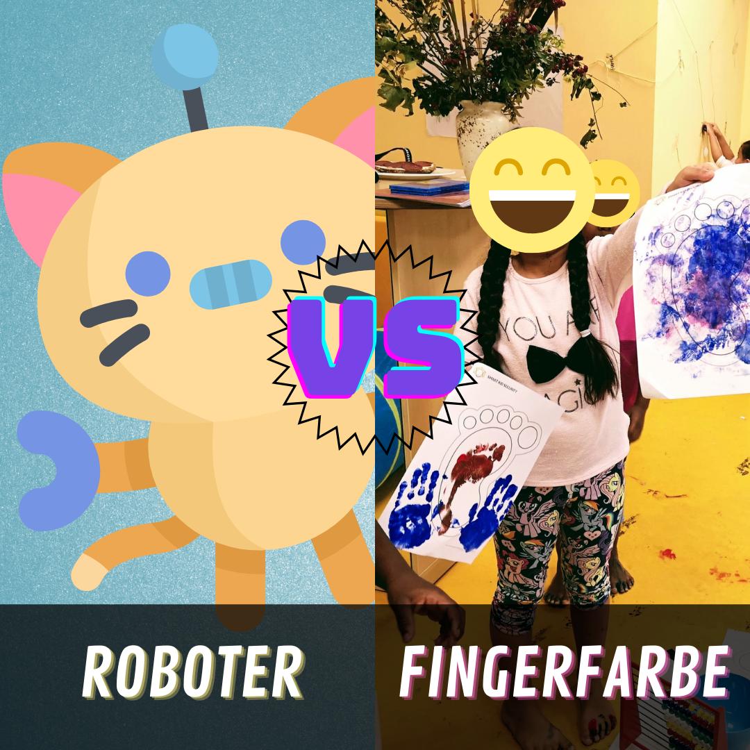 Roboter vs Fingerfarbe